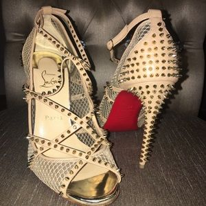 Christian Louboutins Alarc 100 Spiked Mesh heels